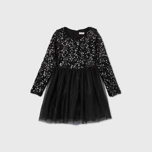 Girls' Long Sleeve Sequin Tulle Dress - Cat & Jack Black