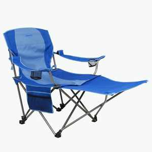 Kamp-Rite KAMPCC236 Outdoor Camping Furniture Beach Patio Sports Folding Lawn Chair with Detachable Footrest and Cup Holders, Blue