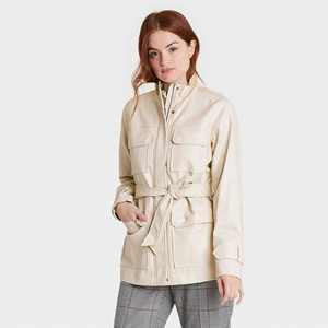 Women's Faux Leather Anorak Jacket - A New Day Stone