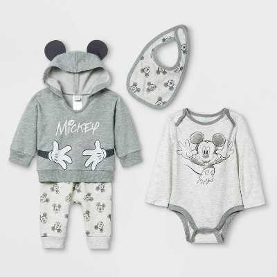 Baby Boys' 4pc Mickey Mouse Long Sleeve Top and Bottom Set with Bib - Gray