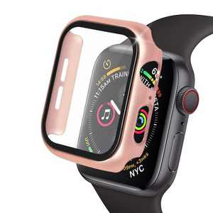 Insten 44mm Metal Hard Case Built in Glass Screen Protector Compatible with Apple Watch Series SE Series 6 Series 5 Series 4 - Rose Gold