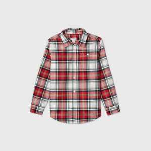 Boys' Family Plaid Long Sleeve Button-Down Shirt - Cat & Jack Red/Cream