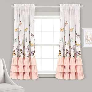 """63""""x52"""" Set of 2 Flutter Butterfly Window Curtain Panels - Lush Décor"""