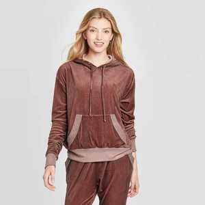 Women's Velour Oil Wash Hooded Sweatshirt - Knox Rose