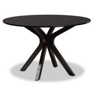 "48"" Kenji Wide Round Wood Dining Table Dark Brown - Baxton Studio"