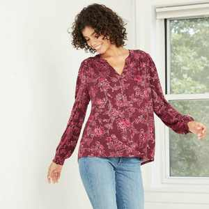 Women's Bishop Long Sleeve Knit Button-Front Top - Knox Rose