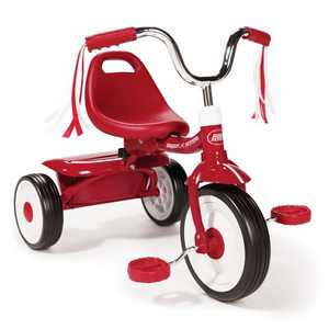 Radio Flyer 411S Kids Toddler Readily Assembled Adjustable Beginner Trike Tricycle Bike with Storage Bin and Handle Streamers, Red