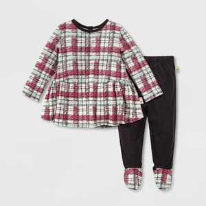 Burt's Bees Baby® Baby Girls' Organic Cotton Cozy Harvest Plaid Tunic and Footed Pants Set - Light Green 3M
