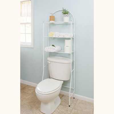 Home Basics 3 Shelf Steel Bathroom Space Saver, White