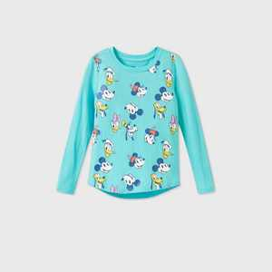 Girls' Disney Mickey Mouse & Friends Long Sleeve Graphic T-Shirt - Blue