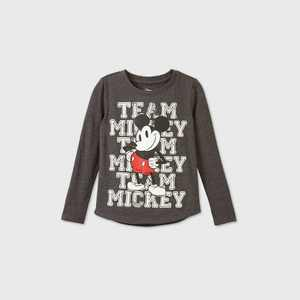 Girls' Disney Team Mickey Mouse Long Sleeve Graphic T-Shirt - Gray