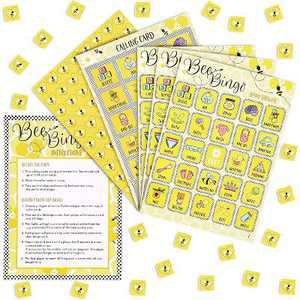 Sparkle and Bash Bumblebee Baby Shower Bingo, Honey Bee Party Game Cards and Chips for Kids & Adults, Up to 36 Guests