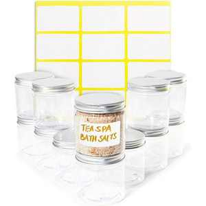 Juvale 12 Pack Round Plastic Glass Jars with Metal Lids, 6oz Clear Food Storage Containers with Label Stickers for Spice, Powder and Cooking Oil
