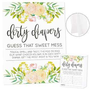 Sparkle and Bash Guess That Sweet Mess, Dirty Diapers Baby Shower Game and Activity, Includes 1 Floral Sign and 60 Guessing Cards