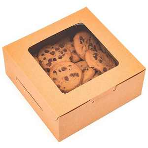 """Juvale 50 Pack Pastry Box Take Out Container with Window for Bakery Cookie Cupcake Dessert, Kraft Paper 6""""x6""""x2.5"""""""