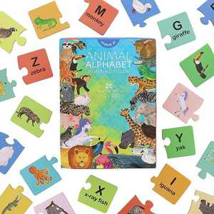 """Blue Panda Alphabet Learning Toys, Animal Words Matching Puzzles, Letter Games for Kids, Preschoolers, 26 Self-Checking Puzzle Sets, 5.5"""" x 2.6"""""""