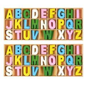 Juvale 260-Piece Wooden Alphabet Letters Wood Craft Letter Blocks with Storage Tray Set for Kids Toddlers Learning Toys Home Decor Multicolored 1 inch