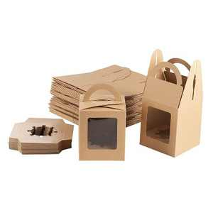 """Juvale 50-Pack Kraft Paper Cupcake Boxes Individual, Pastry Box Take Out Containers with Insert & Window, 3.7""""x4.2""""x3.7"""", Brown"""