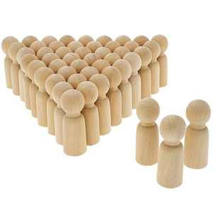 Bright Creations 50 Pack Unfinished Wooden Peg Dad Doll Bodies, Natural Wood Figures for Painting, DIY Arts and Crafts for Kids, 2.4 inches Tall
