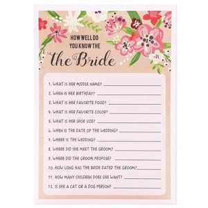 Best Paper Greetings How Well Do You Know the Bride, Vintage Floral Game Cards for Rustic Wedding, Bridal Shower, Bachelorette Party, Up to 50 Guests