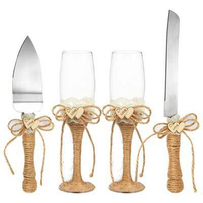 4-Piece Wedding Supplies Set: Cake Knife, Pie Server Set & 2 Toasting Champagne Glasses Flutes, Jute Decorated Handles for Rustic & Country Theme