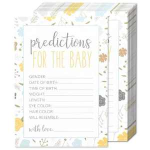 Best Paper Greetings Set of 50 Baby Prediction Game Cards for Baby Shower & Gender Reveal Party Activity, Floral Design