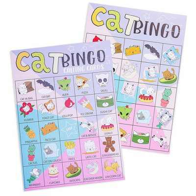Juvale Kitten Bingo Set, Cat Theme Party Game Cards and Kitty Calling Chips for Kids, Classroom Activity, Up to 36 Players