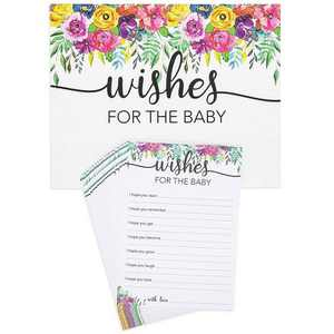Juvale Set of 50 Wishes for Baby, Guest Activity Cards for Baby Shower Game and Gender Reveal, Watercolor Floral Design