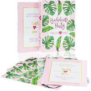 Juvale Truth or Dare Game, 40-Piece Bachelorette Party Card Games for Adults, Girls Night Out, Bridal Shower, Tropical Palm Leaves Design