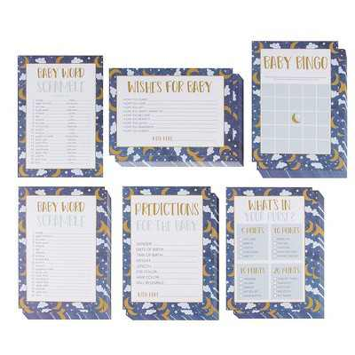 Juvale 5-Set Baby Shower Game Cards Party Activity Supplies Including Bingo Word Scramble Prediction Well Wishes Starry Night Design Up to 50 Guests