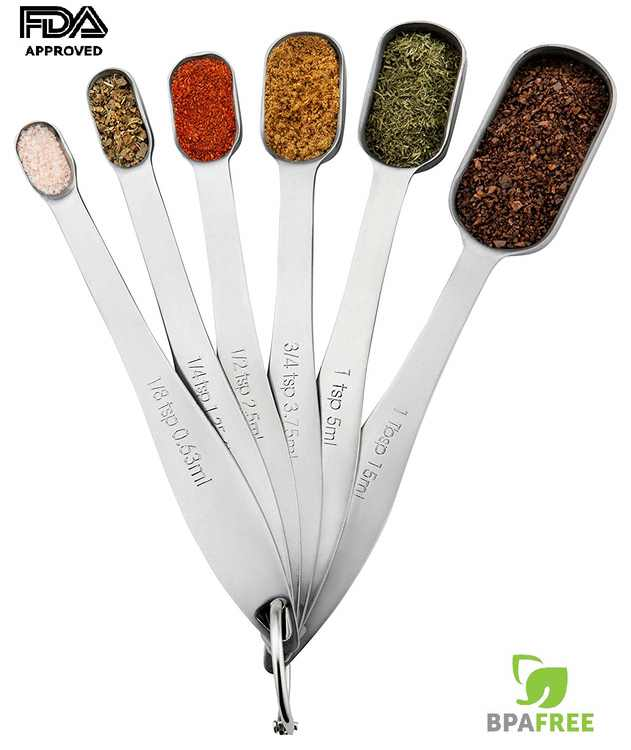 Heavy Duty Stainless Steel Metal Measuring Spoons for Dry or Liquid, Fits in Spice Jar, Set of 6, I2487