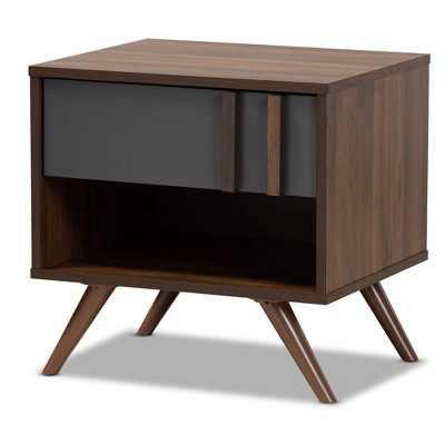 1 Drawer Naoki Two-Tone Wood Nightstand Gray/Walnut - Baxton Studio