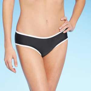 Juniors' Contrast Binding Cheeky Bikini Bottom - Xhilaration Black