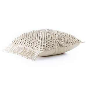 "Lakeside Macrame Throw Pillow with Soft, Textured Sweater Design - Square 18""x18"""
