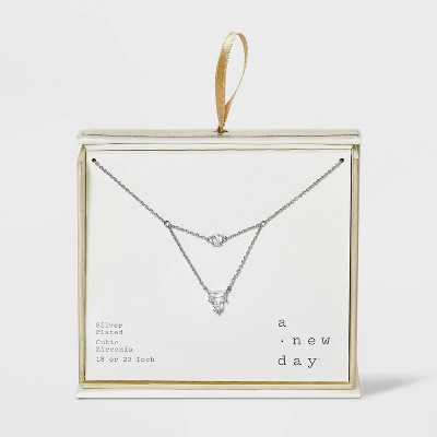 Silver Plated Multi Shape Cubic Zirconia Layered Necklace - A New Day™ Silver