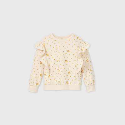 Toddler Girls' Hearts Lace Ruffle Sweatshirt - art class Cream
