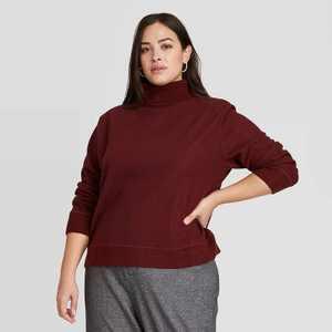 Women's Long Sleeve Turtleneck Sweater Trim T-Shirt - A New Day
