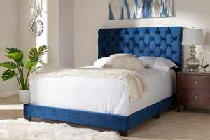 Baxton Studio Candace Luxe and Glamour Navy Velvet Upholstered King Size Bed