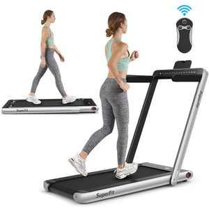 SuperFit 2.25HP 2 in 1 Dual Display Folding Treadmill Jogging Machine W/Bluetooth Speaker