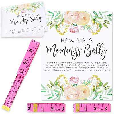 """""""How Big is Mommy's Belly"""", Guess Tummy Size Game Set Includes 24 Guessing Cards and 3 Pink Tapes for Baby Shower, Gender Reveal"""