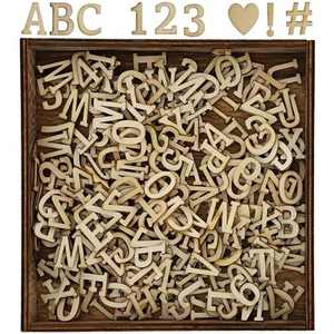 Bright Creations 278-Piece Small Wooden Alphabet Letters Numbers and Symbols Cutouts Box Set for Kids Arts&Crafts DIY Home Decor Displays 0.75 inch