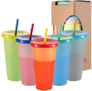 Cribun Color Changing Plastic Tumblers- Color Changing Cups Cold Drink Cups with Lids and Straws- 5 PCS Reusable Color Changing Cold Drink Cups- 24 Oz Summer Coffee Tumblers (5 Darker Reusable Cups)