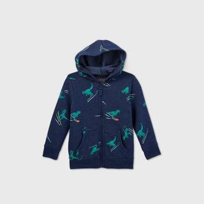 Toddler Boys' Dino Print Zip-Up Fleece Hoodie Sweatshirt - Cat & Jack Navy