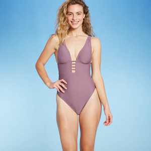 Women's Plunge Front Strappy Detail One Piece Swimsuit - Shade & Shore Dusk
