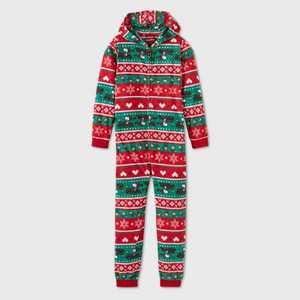 Girls' Snoopy Fair Isle Blanket Sleeper Union Suit - Red