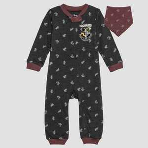 Baby Harry Potter 2pc Long Sleeve Romper and Bib Set - Gray