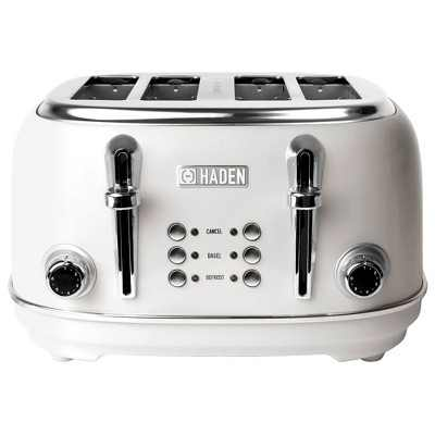 Haden 75013 Heritage 4 Slice Wide Slot Stainless Steel Body Countertop Retro Toaster with Defrost and Adjustable Browning Control, White