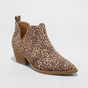 Women's Cari Leopard Print Cut Out Ankle Boots - Universal Thread Light Brown