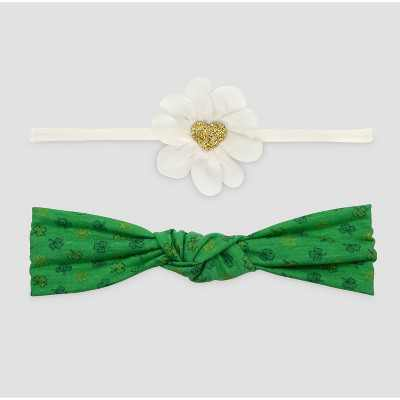 Baby Girls' 2pk Novelty Headwrap - Just One You® made by carter's White/Green One Size