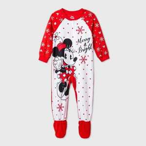 Toddler Girls' Minnie Mouse Footed Pajama - Red